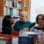 On the Record interviewing at Newham Bookshop (photograph by Fatimah Zahmoul)