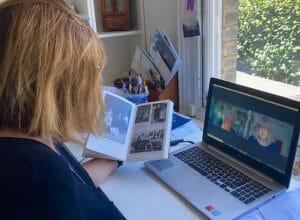 Bea capturing Selma's photographs on Zoom