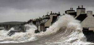 Waves battering sea front